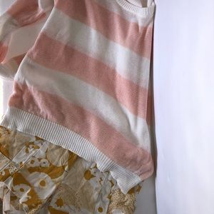 Forever 21 Pink & White Lightweight Sweater